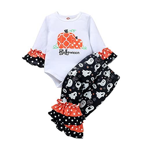 YIDYFA Baby Mädchen 2Pcs Kleidung SetKurzschluss Hülsen T-Shirt und Lange Hosen Pumpkin Print Romper Kleinkind Babykleidung Set