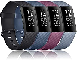 Vancle Bands Compatible with Fitbit Charge 4 / Charge 3 / Charge 3 SE Bands, Classic Soft Replacement Wristband Sport...
