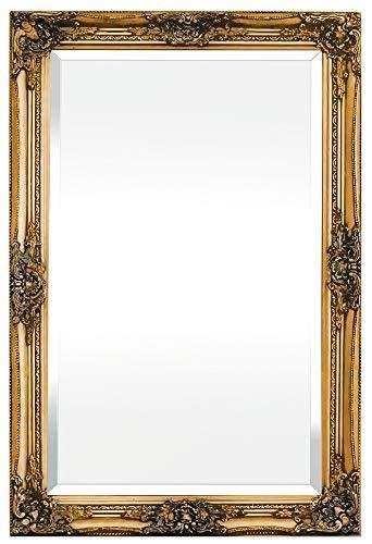 Rococo by Casa Chic – Goldener Shabby Chic Wandspiegel – 90 x 60 cm – Handgefertigter Spiegel – Barock – Groß – Massivholz – Antik Gold