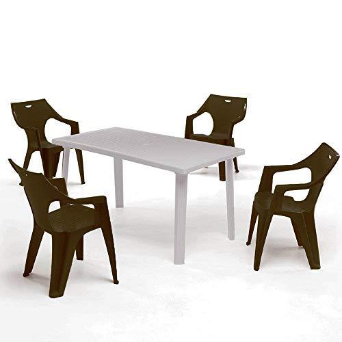 ガーデンテーブルセット ドミンゴ ガーデンテーブル&クレタ チェアー 5点セット モカ( プラスチック 軽量 屋外 ガーデン イス テーブル イタリア製)