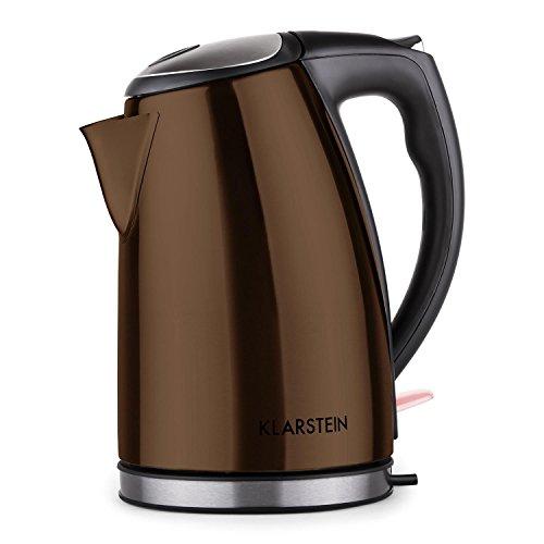 Klarstein Ariela - Bouilloire electrique design moderne en acier (1,7L, 2200W, poignée froide, récipient en inox haut de gamme avec un socle de 360°) - couleur chocolat