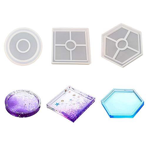 Huture 3 Stck Untersetzer-Silikon-Form mit runden quadratischen Hexagon Feien Epoxidformen für das Gießen mit Harz Beton Kleber und Fimo Innenlager Verhindert Deformations Inneneinrichtung