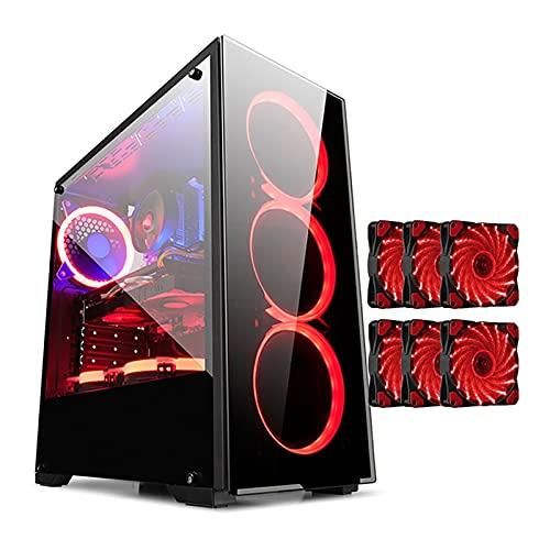 BBNB ATX Caso De Juego - Micro ATX PC Caso/ATX Caja De La Computadora - Torre Media - Vidrio Acrílico: Soporte De 6 Ventiladores (se Puede Seleccionar El Número De Ventiladores) (Color : 6 Fan)