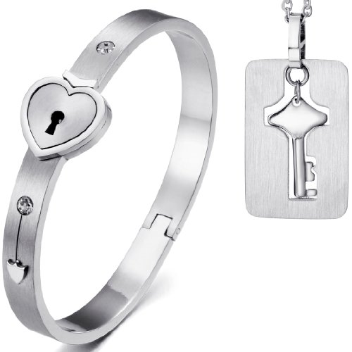 JewelryWe 2pcs New Stainless Steel Silver Heart Lock Love Bangle Bracelet & Key Tag Pendant Necklace Set