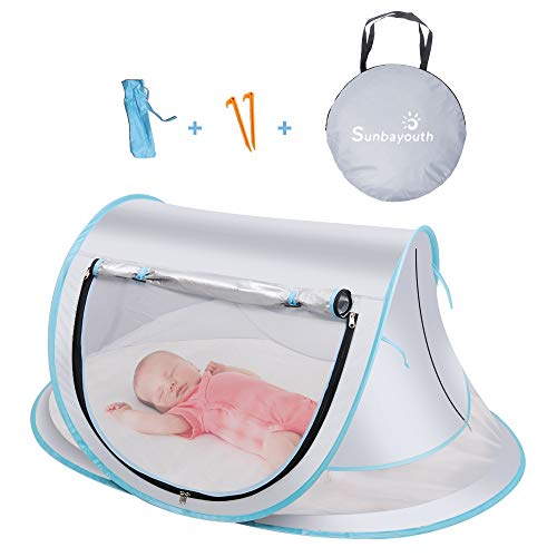 SUNBA YOUTH Baby Tent, Portable Baby Travel Bed, UPF 50+ Sun Shelters for Infant, Pop Up Beach Tent, Baby Travel Crib with Mosquito Net, Sun Shade … (Gray)