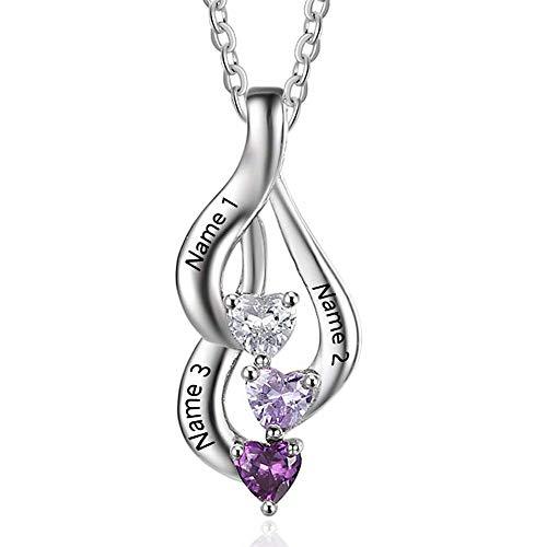 Lam Hub Fong Personalisierte Sterling Silber Halsketten mit Anhänger 3 Simulierte Birthstone Halskette Echt Silber mit 3 Namen Gravur für Frauen Silber