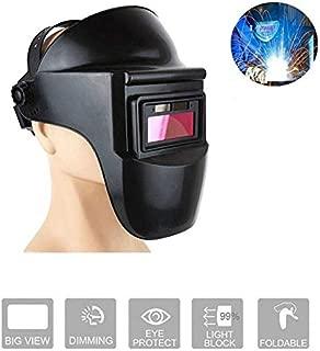 Hamkaw Casco de soldadura, máscara de soldadura de oscurecimiento automático con filtro solar de doble capa con lente, parasol protector HD, lentes con sensor de arco para soldadura MIG TIG ARC