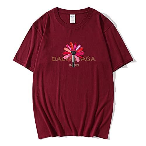 Camiseta Deporte Mujer 2021 Nueva Tendencia Moda Harajuku Letra De Lápiz Labial De Colorida Impresa Top Camiseta Verano Camiseta De Manga Corta para Mujer Camiseta De Algodón-Vino Tinto_SG