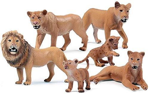 Turtle Story Juguetes simulan animales salvajes con forma de león juguete para niños decoración de la habitación del hogar León de pie, nombre del color: Lion JXNB (color: León 6 piezas)