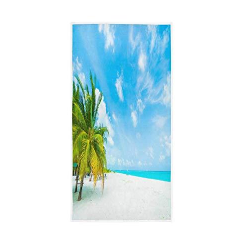 NBHBVGFC Toalla de playa tropical con hojas de palmera para verano, suave para el baño, hotel, spa, gimnasio, deporte, 76,2 x 38,8 cm