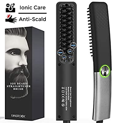 Beard Straightener for Men, Ionic Beard Straightening Comb with Anti-Scald Feature, Heated Hair Straightener Brush for Men & Women, Portable Beard Brush Straightener