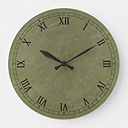 McC538arthy 12 Inch Silent Wooden Wall Clock Solid Green Large Clock for The Kitchen, Living Room, Bedroom,Office