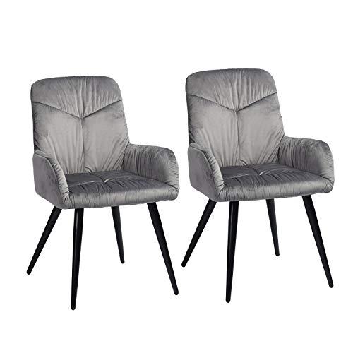MEUBLE COSY – Juego de 2 sillas de Comedor escandinavas – Sillón de Terciopelo y Patas de Metal Gris, 56 x 60 x 88,5 cm