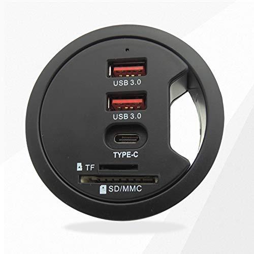 Gaetooely Concentrador USB USB3.0 Montaje en Varios Puertos de Escritorio con Adaptador de Auriculares/MicróFono/TF para PC/Tableta Divisor MúLtiple Enchufe de la UE