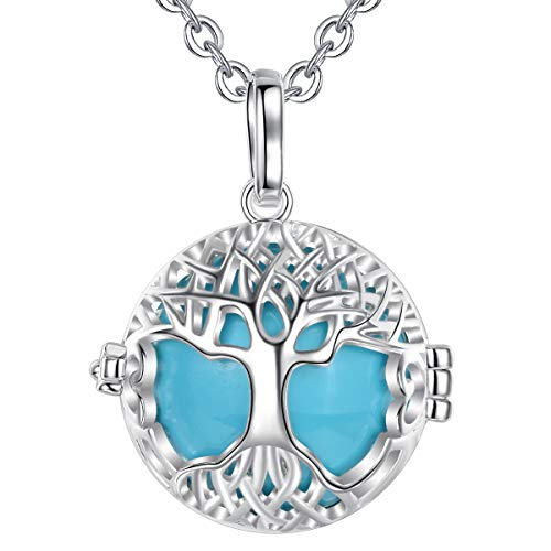 AEONSLOVE Harmony Ball Pregnancy Bola Necklace Silver Celtic Tree of Life Melody Angel Chime Caller Bell 20mm Mexican Bola Ball Pendant 30' Necklaces for Pregnant Women Baby Mom Gifts (Sky Blue)