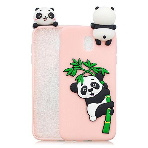 HereMore Cover per Samsung Galaxy J7 2017, Ultra Sottile Custodia Morbido Silicone Gel Gomma con Disegni 3D Panda Modello Antiurto Copertura Protettiva Bumper Cover Anti-graffio Protezione Case - Rosa
