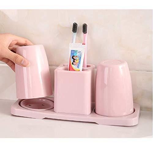 Local Makes A Comeback - DoubleCup plástico redondo, estante creativo del almacenaje del cuarto de baño del tenedor del cepillo de dientes, respirable hueco, desmontable, polvo nórdico