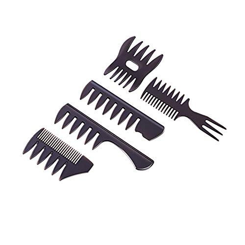 5 Pièces Peigne de Fourche à Dents Larges,Professionnel Hommes Styling Comb,Homme Peignes de Coiffeur en Plastique,Coiffure Dents Larges et Peigne à Fourche Coiffeur Barbiers Peignes