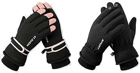 Gloves men's winter plus velvet warmth riding motorcycle winter cold-proof touch screen women's thick cotton ski gloves