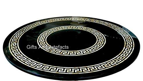 Mesa de comedor redonda de mármol negro con mesa de conferencias Pietra Dura Art para oficina y hogar de 172 x 172 cm