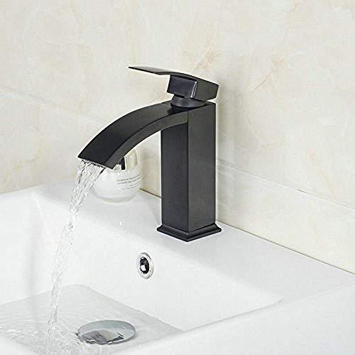 Grifo de lavabo mezclador de baño de cascada de bronce frotado con aceite Jn8319-1
