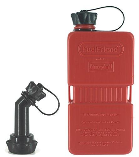 FuelFriend®-Plus 1,5 Liter - Klein-Benzinkanister Mini-Reservekanister + verschließbares Auslaufrohr