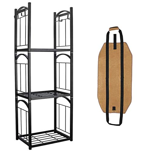 Ohuhu Firewood Rack Bracket Kit with Screws, 2-Pack Adjustable to Any Length DIY firewood Carrier, Fireplace Fire Wood Storage Holder, Heavy Duty Metal Outdoor Fire Log Carrier Stacking Rack Brackets