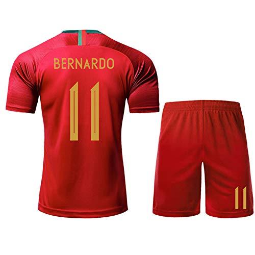 LIUJING Portugiesisches Heim- und Auswärtstrikot 7 C Ronaldo Nr. 9 Silva 11 Bernardo Fußballbekleidung Herren-Polyestergewebe (S-2XL)-red2-XXL