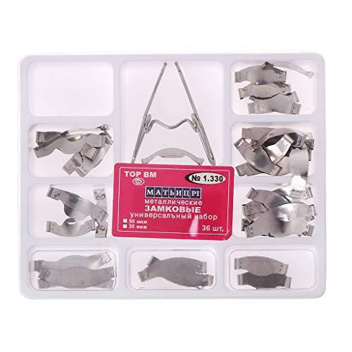 Tanmo Kit Universal de Matriz de Matrices de Metal Contorneado de sillín Dental de 36 Piezas con Clip de Resorte