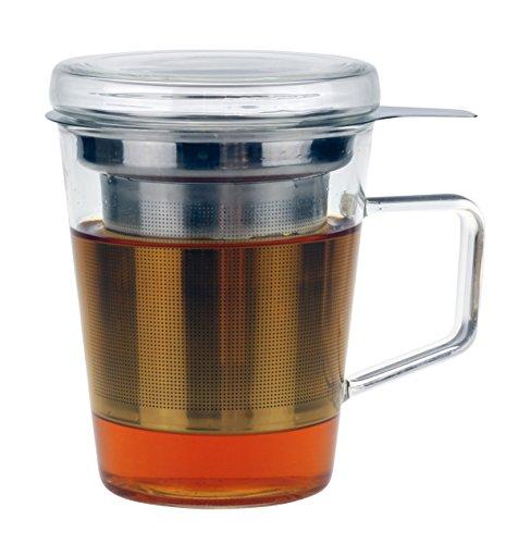 Urban Lifestyle Yoshi - Taza de té con tapa de cristal y filtro de acero inoxidable, 300 ml