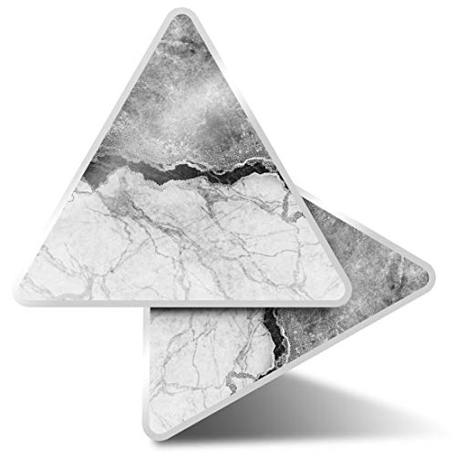 2 x Triangle Stickers 10cm - BW - Marble Effect Rock Grey Black Laptop Tablet Luggage Scrapbook #43357