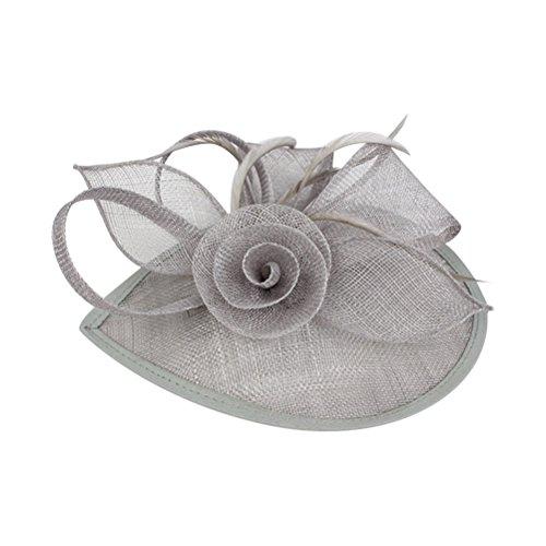Frcolor Fascinator Hut, Hochzeit Feather Hut Filz Hut für Frauen (grau)