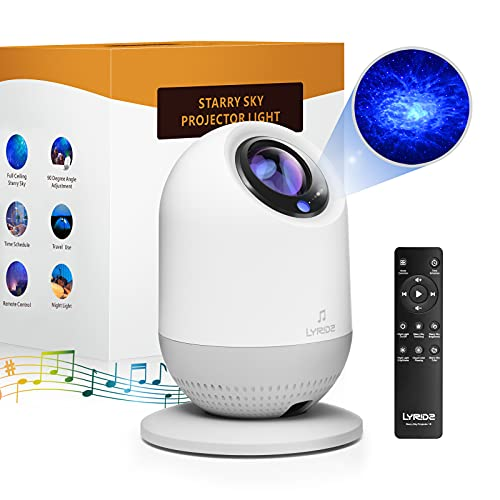 LYRIDZ Star Projector Galaxy Projector Night Light Rechargeable LED Laser Sky Nebula Lamp with Remote Control & Timer for Kid Bedroom, Home Theater, Game Room Decor, Mood Ambiance (Blue Stars)