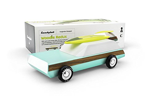Candylab Toys Wooden Cars, Woodie Wagon Redux with Surfboard, Modern Vintage Style Station Wagon, Kids Surf Toy, Solid Beech Wood