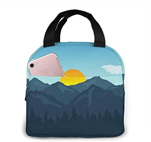 Mountain Sunset Tote Lunch Bags, Portátil Aislante Fiambrera Contenedor Cooler Bag, Tote Bento Pouch para Viajes / Picnic / Trabajo