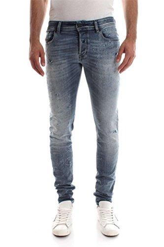 Diesel Herren Jeans Sleenker Skinny Fit Washed Out Blue D.N.A. Distressed