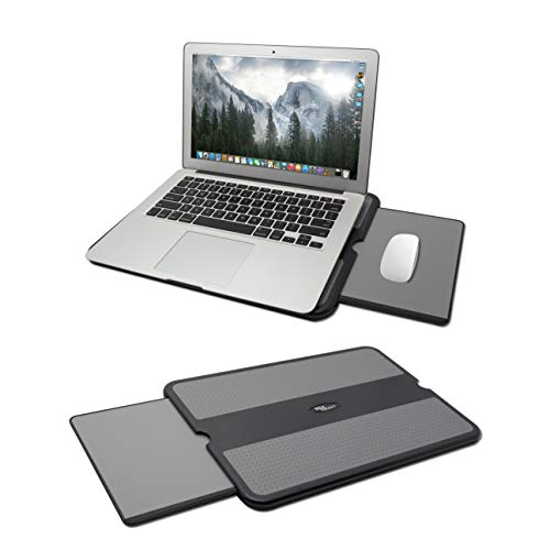 MAX SMART Portable Laptop Lap Pad, Laptop Desk with Retractable Mouse Tray, Anti-Slip Heat Shield Notebook Computer Stand Table, Working Station