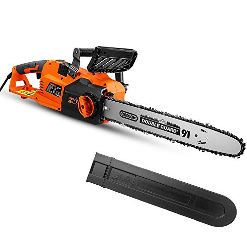 TACKLIFE 2400W Electric Chainsaw, 45 cm Chain, 15m/s Speed, Tool-Free Chain...