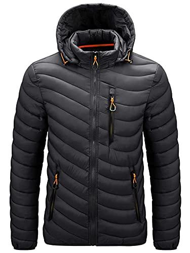 LAYAN-B Chaqueta para hombre con capucha desmontable y capucha Puffer Coat acolchado Chaqueta de algodón Outwear Abrigo de invierno
