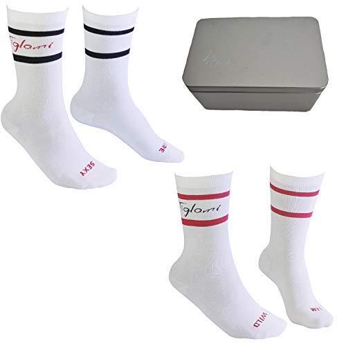 Tiglami Secret Socks Gift Box mit zwei Paar gekämmten Baumwollsocken für Männer und Frauen, Socken mit geheimen Botschaften zum Teilen und Mischen, um einzigartig zu sein, zwei Größen erhältlich