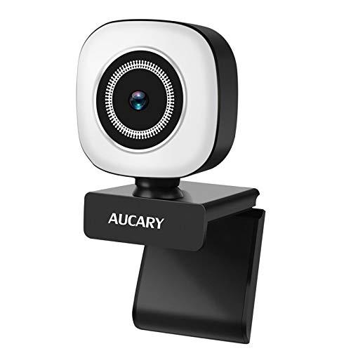 2K Anillo de luz Cámara Web de 1080p con micrófono para PC,HD USB Webcam with Fixed Focus Auto Light Correction for Video Chat and Recording, Conference