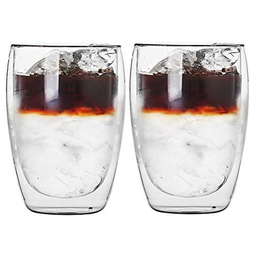 2pcs Taza de Café,Vaso Doble Pared,Vaso de Café,Taza de Café de Vidrio de Pared Doble de 350 ML, Tazas de Cristal Café Espresso Transparente,Resistente al Calor para Bebida,Café,Té,Leche,Cerveza