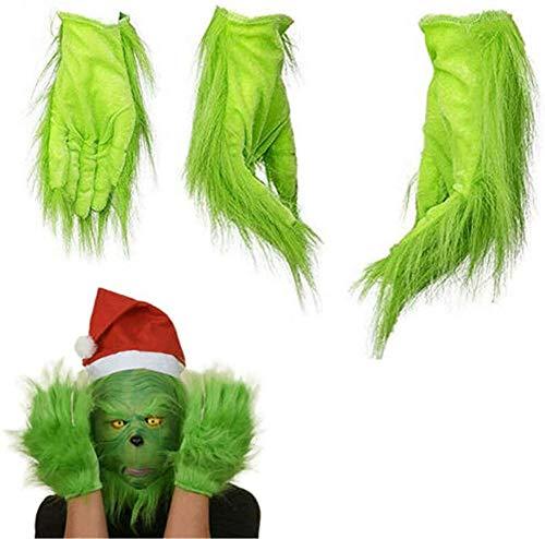 HAIJIN Disfraz De Santa Grinch, Guantes Verdes De Felpa Peludos Navideos, Guantes De Felpa Verdes para Navidad, Accesorios De Cosplay De Halloween, Accesorios para Disfraces (Cabeza)