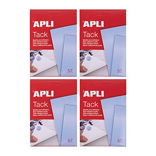 APLI 18996 - Pack de 4 sobres de APLI tack masilla azul reutilizable de adhesivo removible - 57 g (228 g)