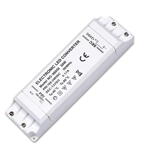 Kambo Trasformatore LED 220V 12V 50W Driver 4.17A Alimentatore Elettrica Convertitore LED per Bassa Tensione Striscia Lampadina MR16 GU5.3 MR11 G4