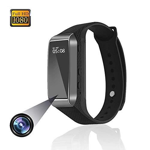 Reloj Deportivo Cámaras Ocultas Pulsera Inteligente Mini cámara de Video con Pasos de Seguimiento, monitoreo de la Calidad del sueño, videograbadora grabadora de vigilancia Adecuada