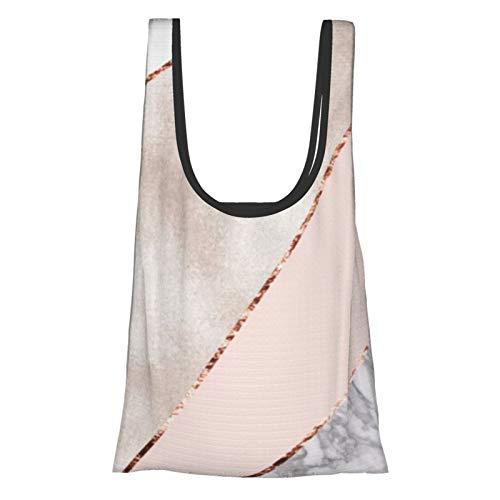 Bolsas de compras reutilizables empalmadas mixtas de oro rosa de mármol ecológico...