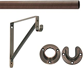 """8' Foot Lido Heavy Duty Closet Rod Kit - Oil Rubbed Bronze Finish - 1 5/16"""" OD with 2 Wall Flanges & 1 Support Bracket"""