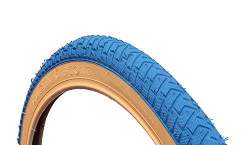 LUCKY STONE CURIO UK BLUE w/GUMWALL BMX TYRE TIRE LS214 20 X 2.125 RAMP STREET THREAD