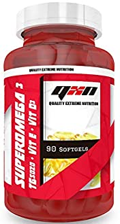QXN Super Omega 3 + Vitamina D3 + Vitamina E. 90 Cápsulas | Complemento Alimenticio Omega 3. Vitamina D3 y Vitamina E. Reduce Colesterol. Antiinflamatorio Natural. Evita Molestias Musculares y Óseas